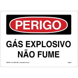 Placa De Perigo - Gás Explosivo Não Fume