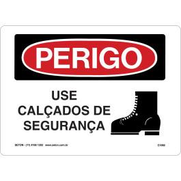 Placa De Perigo - Use Calçado De Segurança