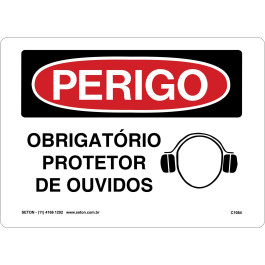 Placa De Perigo - Obrigatório Protetor De Ouvidos
