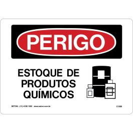 Placa De Perigo - Estoque De Produtos Químicos