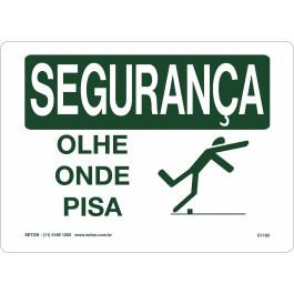 Placa De Segurança - Olhe Onde Pisa