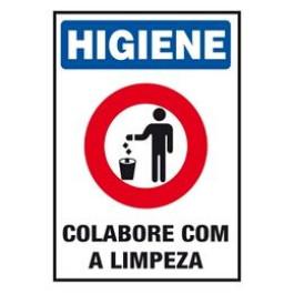 Placa Ilustrada De Segurança - Higiene Colabore Com a Limpeza
