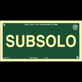 Placa Fotoluminescente de Sinalização para Identificação de Pavimento - Subsolo - 10 x 20 cm - PVC 2 mm