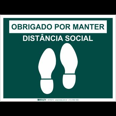 Marcador de Piso - Obrigada por Manter Distância Social - Verde