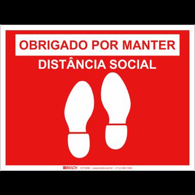 Marcador de Piso - Obrigada por Manter Distância Social - Vermelho