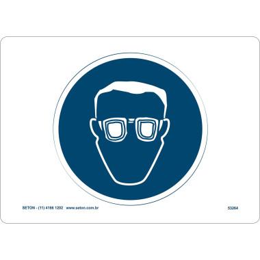 Placa de Sinalização | Símbolo Internacional | Proteção Para Os Olhos e Ouvidos