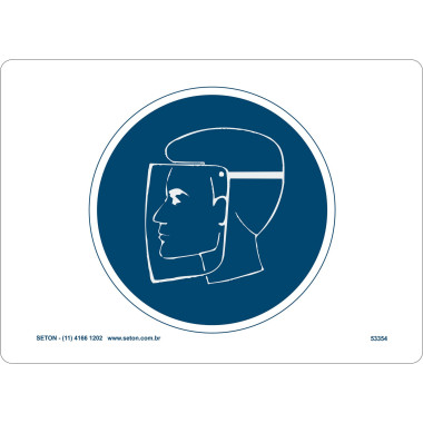 Placa de Sinalização | Símbolo Internacional | Proteção Para o Rosto