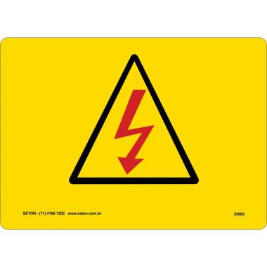 Placa De Símbolo Internacional - Eletricidade (Raio Vermelho)