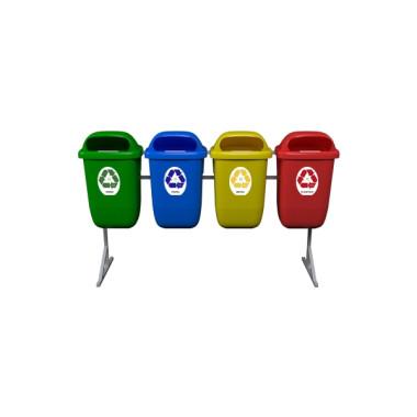 Conjunto Coleta Seletiva de Lixo com 4 Divisórias