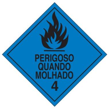 Placa De Simbologia De Risco - Perigoso Quando Molhado 4