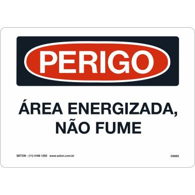 Placa de Sinalização de Perigo | Área Energizada, Não Fume