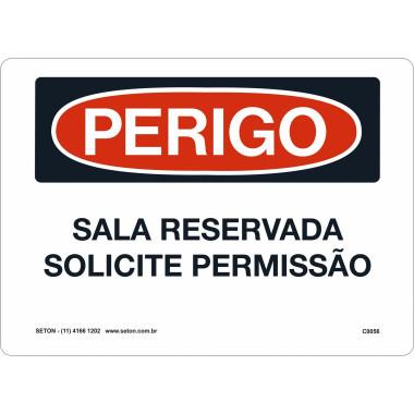 Placa De Perigo - Sala Reservada Solicite Permissão