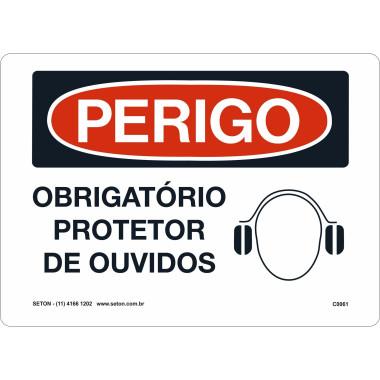 Placa de Sinalização de Perigo | Obrigatório Protetor de Ouvido