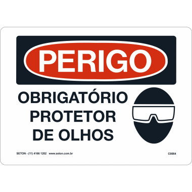 Placa de Sinalização de Perigo | Obrigatório Protetor De Olhos