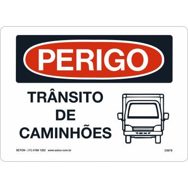 Placa trânsito de caminhões