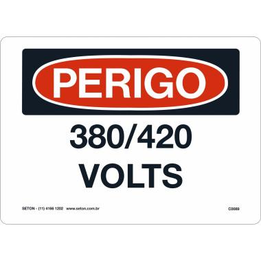 Placa De Perigo - 380/420 Volts