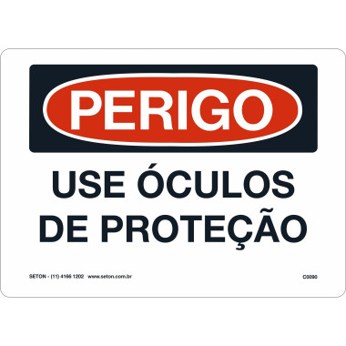 Placa de Sinalização de Perigo | Use Óculos de Proteção