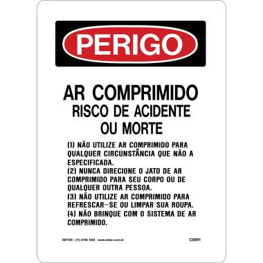Placa de ar comprimido risco de acidentes ou morte