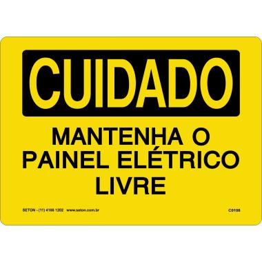 Placa de Cuidado | Mantenha o Painel Elétrico Livre