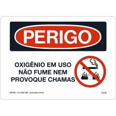 Placa de Sinalização de Perigo | Oxigênio em Uso Não Fume Nem Provoque Chamas