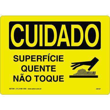 Placa Cuidado Superfície Quente Não Toque