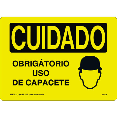 Placa de Cuidado | Obrigatório Uso de Capacete