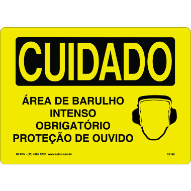Placa Cuidado Área de Barulho Intenso Obrigatório Proteção de Ouvido