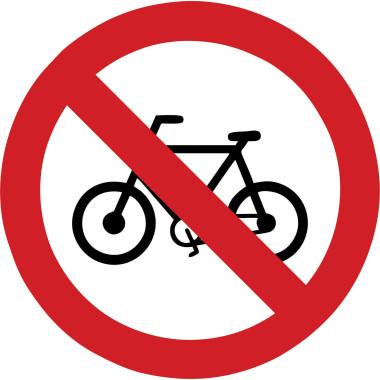 Placa proibido trânsito de bicicletas
