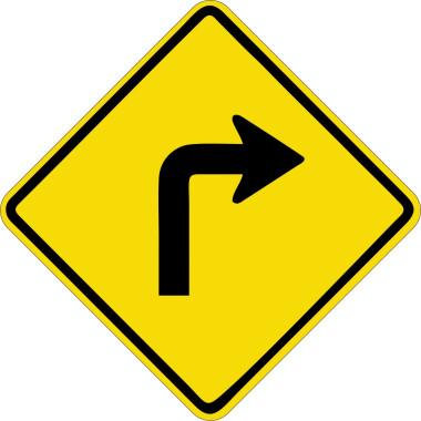 Placa de Sinalização de Trânsito | Curva Acentuada à Direita