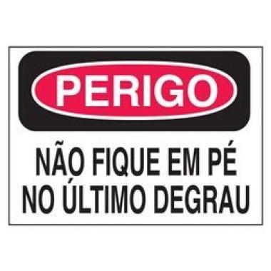 Etiqueta de Perigo - Não Fique em Pé no Último Degrau