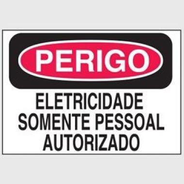 Etiqueta de Perigo - Eletricidade Somente Pessoal Autorizado