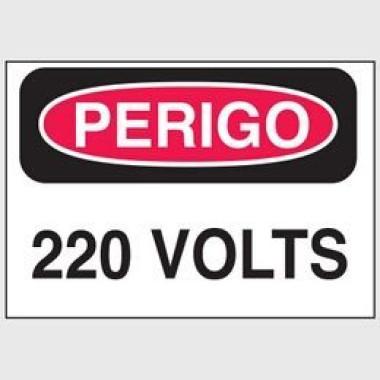 Etiqueta de Perigo - 220 Volts
