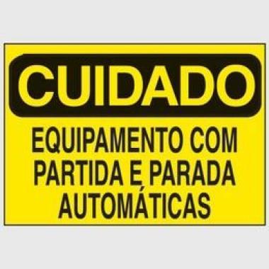 Etiqueta de Cuidado - Equipamento Com Partida e Parada Automáticas