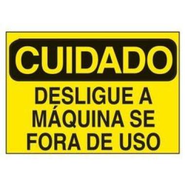 Etiqueta de Cuidado - Desligue a Máquina Se Fora de Uso
