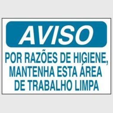 Etiqueta de Aviso - Por Razões de Higiene, Mantenha Esta Área de Trabalho Limpa