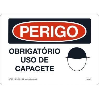 Placa De Perigo - Obrigatório Uso De Capacete
