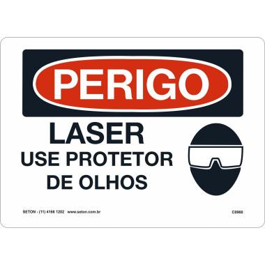 Placa laser use protetor de olhos