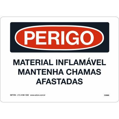 Placa de Sinalização de Perigo | Material Inflamável Mantenha Chamas Afastadas