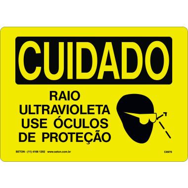 Placa Cuidado Raio Ultravioleta Use Óculos de Proteção