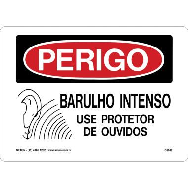 Placa de Sinalização de Perigo | Barulho Intenso Use Protetor de Ouvidos