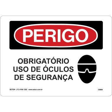 Placa De Perigo - Obrigatório Uso De Óculos De Segurança