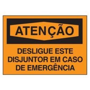Etiqueta de Atenção - Desligue Este Disjuntor em Caso de Emergência