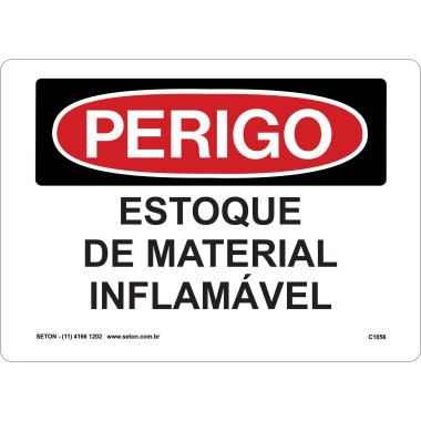 Placa de Sinalização de Perigo | Estoque de Material Inflamável