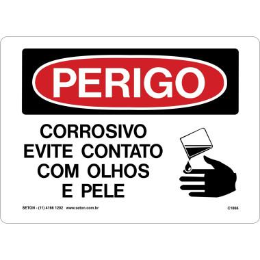 Placa De Perigo - Corrosivo Evite Contato Com Olhos e Pele
