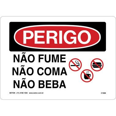 Placa De Perigo - Não Fume, Não Coma, Não Beba