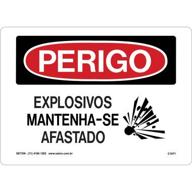 Placa de Sinalização de Perigo | Explosivos Mantenha-se Afastado