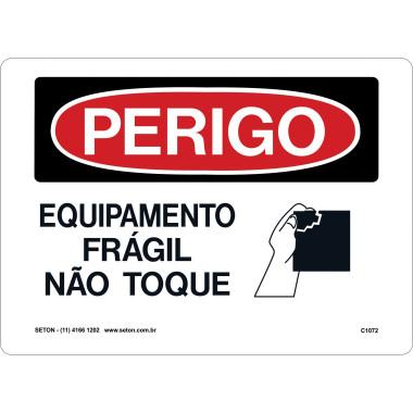 Placa equipamento frágil não toque