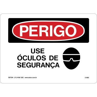 Placa De Perigo - Use Óculos De Segurança