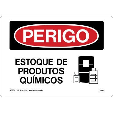 Placa estoque de produtos químicos
