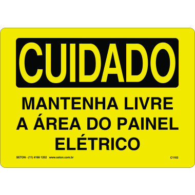 Placa de Cuidado | Mantenha Livre a Área do Painel Elétrico
